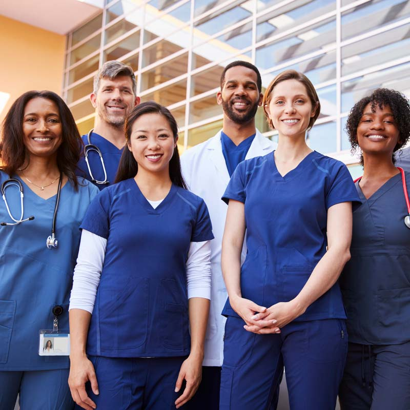 Smiling Group of Nurses and Doctors